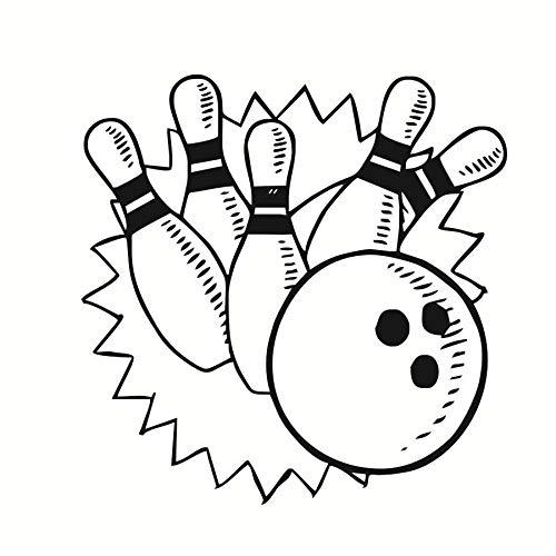 jiushizq Bowling Spiele Wandaufkleber Wohnkultur Wohnzimmer Vinyl Wandtattoos Kinder Kinderzimmer Wanddekoration Bowling Lustige Muster 59 cm X 59 cm