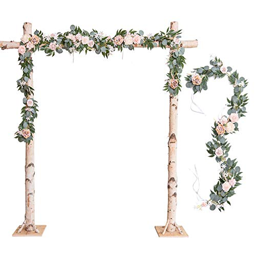 Ling's moment Wedding Arch Decor Flowers 2 Rows 6.5ft Blush Floral Arrangements for Wedding Arch Backdrop Ceremony Decorations