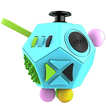 Fidget Dodecagon –12-Side Fidget Cube Relieves Stress and Anxiety Anti Depression Cube for Children and Adults with ADHD ADD OCD Autism  B3 Blue Sky