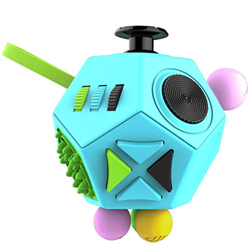 Fidget Dodecagon –12-Side Fidget Cube Relieves Stress and Anxiety Anti Depression Cube for Children and Adults with ADHD ADD OCD Autism (B3 Blue Sky)
