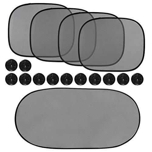 ATPWONZ 5 Stück Sonnenblende für Autofenster Auto Sonnenblende mit UV-Schutz Autosonnenschirme für Heckscheiben und Seitenscheiben Saugnapf mit Aufbewahrungstasche - Schwarz