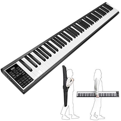 URVOLAX 電子ピアノ 88鍵盤 MIDI対応 軽量 コンパクトで持ち運びやすい 充電型 長時間利用可能 収納便利 128種音色 バッテリ内蔵 録音再生機能 初心者に向け 専用ケース付属 日本語説明書 12ヶ月保証期間