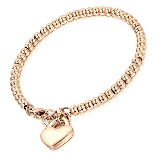Cupimatch Charmsarmband van roestvrij staal, voor dames, met hartvormige hanger, zilver