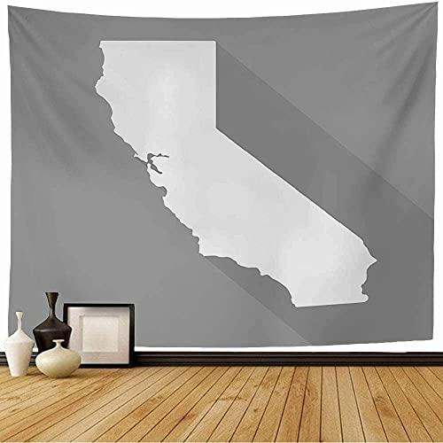Tapiz con California White Sacramento Francisco Mapborder Plano simple Mapa del mundo Estilo Business Finance Tapiz de pared Decoraciones para el hogar para la decoración del dormitorio, 100x150cm (4
