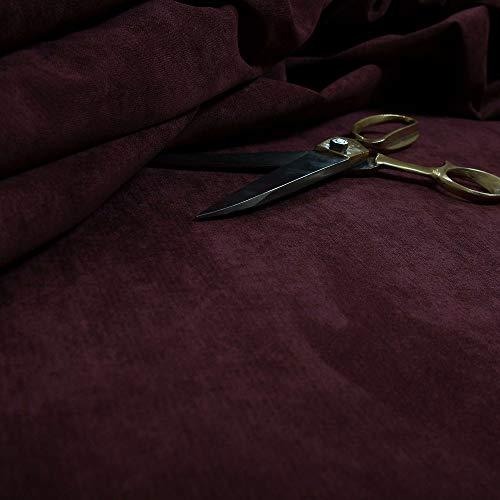 New Furnishing Fabrics Tela para tapicería de felpilla con Acabado Mate para sofás, sillas, Muebles, Tela tratada con Llama en Color Vino Profundo, Chenilla, Granate, 10 Metros