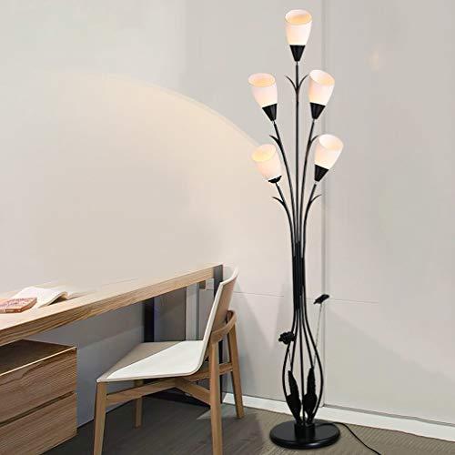 HKLY Moderner LED Stehleuchte, Kreativer Schwarz Schmiedeeisen Stehlampe 5 Flammig Weiß Lampenschirm Aus Acryl, E27 Sockel for Schlafzimmer, Wohnzimmer Study Room, Höhe 160Cm Standleuchten