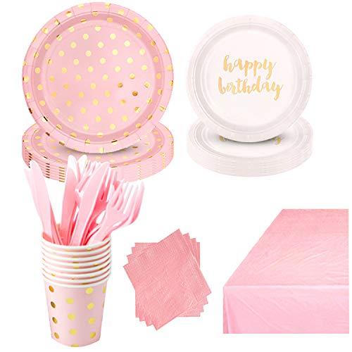 DreamJing - Vajilla desechable de papel para servilletas (69 unidades), color rosa