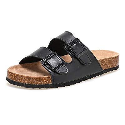Women's Fashion Casual Adjustable Belt Buckle Sandals Leather Strap Cork Sole Sandals Flat Anti-Slip Sandals