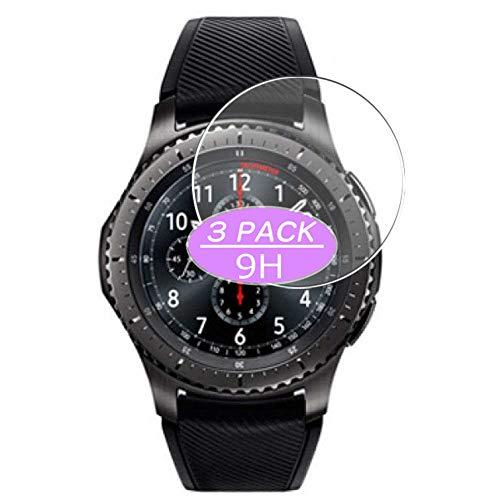 Vaxson - Pellicola proteggi schermo in vetro temperato, compatibile con Samsung Gear S3 Frontier, pellicola protettiva 9H, confezione da 3