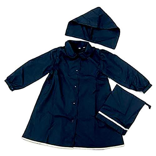 ハッピークローバー 紺色レインコート【ランドセル対応】【女の子向け】【フード・収納袋付】(120)