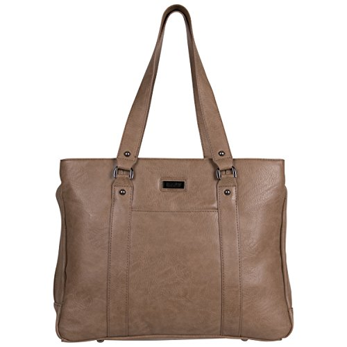Kenneth Cole Reaction Women's Hit Pebbled Faux Leather Triple Compartment 15' Laptop Business Tote, Taupe