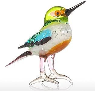 Tooarts Figura decorativa de aves Escultura animal hecha de vidrio Multicolor