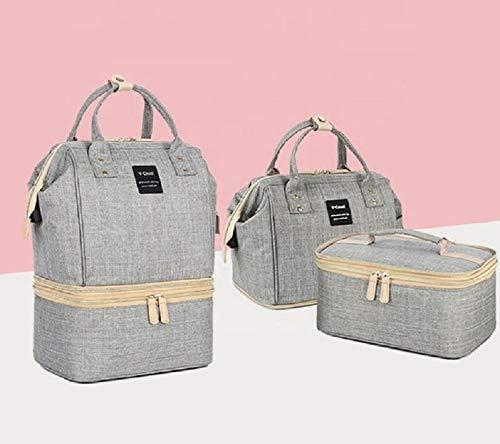 MYWILON Bolsa de pañales 2 en 1 para la mamá y el bebé - Bolsa de pañales multiusos impermeable de gran capacidad - Bolsa con bolsillos aislados para el biberón