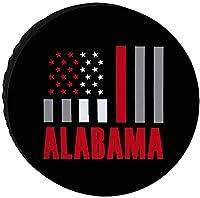 Alabama USA Thin Red Line Flag タイヤカバー防水日焼け止め調整可能なタイヤダストカバー14-17inch車 タイヤ カバー