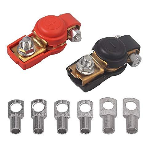 Justech 2PCs Batterieklemmen Batterie Schnellklemmen Klemmen Kupferbatterieklemmen Polklemmen Batterie Schnellverschlüsse Negativ/Positiv mit 6 Kupferringklemmen 4/6 / 8AWG für Wohnmobilfahrzeuge