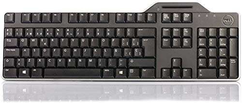 Genuine Original DELL USB Keyboard KB813 with Smart Card SmartCard Reader, QWERTZ Layout for SWISS Language, Dell P/N : 7YF39, with software CD, Comes with Palm Rest