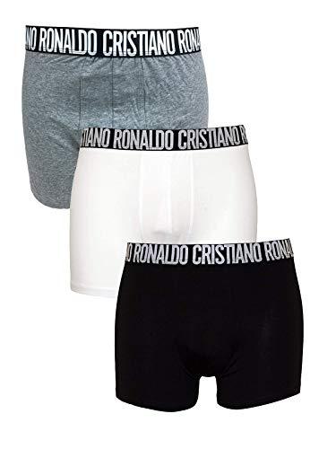 Cristiano Ronaldo CR7 3er Pack Boxershorts in Schwarz/Weiß/Grau Big Logo Gr. L, schwarz / weiß