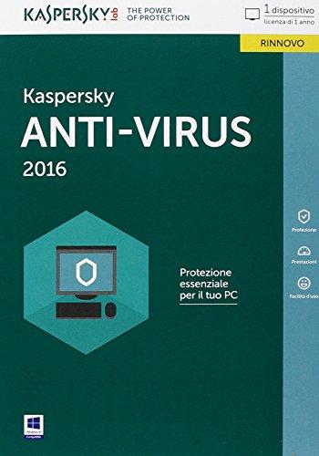 Kaspersky Anti-Virus 2016 Italian Edition. 1 User 1 year Renewal Box ITA