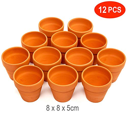 12 Pack Terracotta Clay Ceramic Flower Pots, 3inch(8cm) - Mini Cactus Succulent Nursery Miniature Small Plant Pots with Drainage Holes - Perfect for Arts & Crafts, Wedding Favours, Decor.