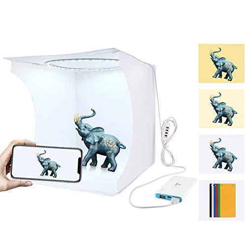 Huanxin Mini-Ring-Licht-Foto-Studio-Licht-Box, Softbox Tragbares Falten Fotografie Lichtzelt Kit 12.2 X12.2 X12.9 Inch, Mit 64Pcs LED-Leuchten + Mit 6...