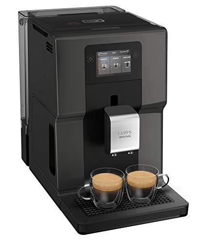 Krups EA872B Intuition Preference Kaffeevollautomat | personalisierbare LED-Beleuchtung | 250 g Bohnenbehälter | 2,3 L Wassertank | 3,5' Farb-Touchscreen | One-Touch-Cappuccino Funktion | Schwarz