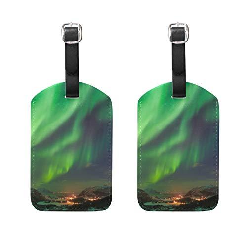 WINCAN Etiquetas de Equipaje (variadas,2PK),Aurora Boreal,Noruega,Etiqueta de Equipaje para Equipaje,Mochilas Etiquetas de Maleta