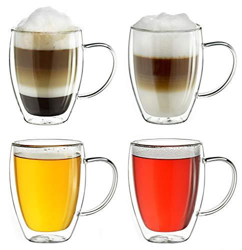 Creano doppelwandiges Thermoglas mit Henkel 400ml, großes Doppelwandglas aus Borosilikatglas, Kaffeegläser, Teegläser, Latte Gläser 4er Set