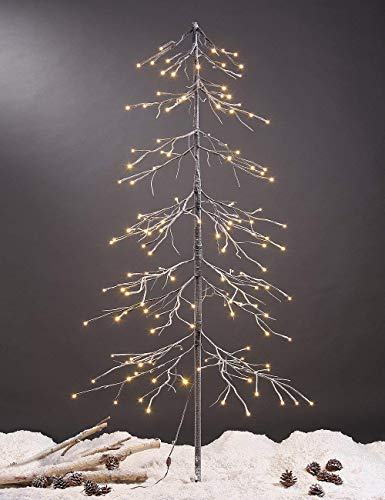 LIGHTSHARE 6 ft. Snowy Fir Tree, 144 LED Lights, for Indoor and Outdoor Use, Warm White, for Home Festival Party Christmas