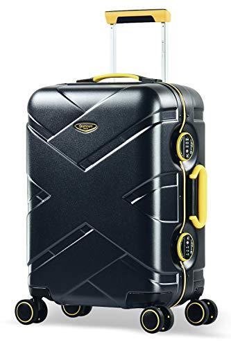 Eminent Gold Bagaglio a mano Crossover 54cm 39L Valigia rigida 4 Ruote doppie silenziose Policarbonato & Telaio in alluminio Lucchetto TSA Nero giallo