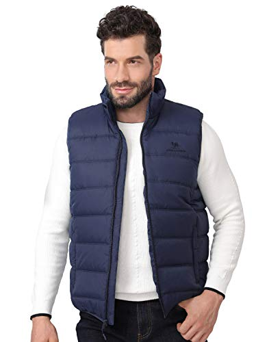 CAMEL CROWN Puffer Vest Men Quilted Winter Padded Sleeveless Jackets Gilet for Casual Work Travel Outdoor Blue M