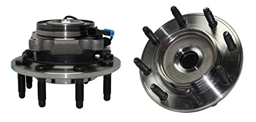 Detroit Axle 515098 Pair of Front Wheel Hub and Bearing Assembly 8 Bolt w/ABS Replacement for 2007-2010 Chevy GMC Silverado, Sierra 2500HD - [07-09 Silverado, Sierra 3500] SRW - 2pc