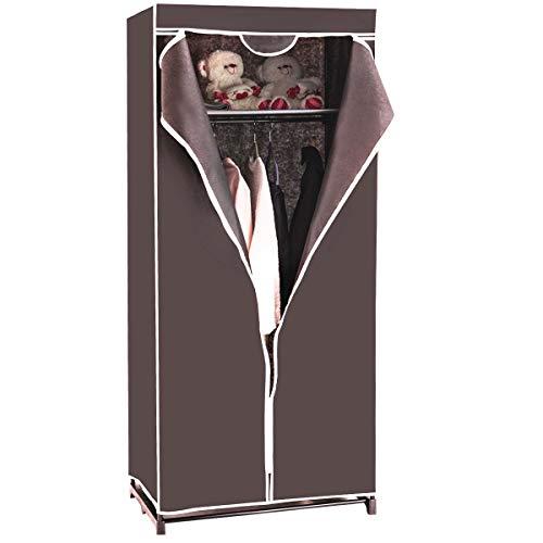 COSTWAY Kleiderschrank Stoffschrank, Faltschrank Textilschrank Campingschrank Stoffkleiderschrank Faltkleiderschrank, mit Kleiderstange, 172x74x50cm, Farbewahl (braun)