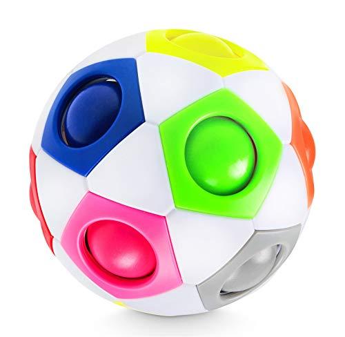 Lucky Humans® -Premium Regenbogenball- Geschicklichkeitsspiele/Knobelspiele für Kinder und Erwachsene, Magic Ball Spielzeug als Mitgebsel/Geschenke, Anti- Stress Ball, Puzzle, Speed Cube, Fidget Cube