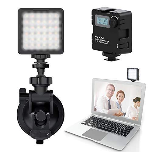KU XIU Beleuchtung für Videokonferenzen, einstellbare Helligkeit und Farbtemperatur, Vakuumsauger kann fest am Laptop oder an der glatten Oberfläche angebracht Werden, für Videoanruf Zoom Meeting