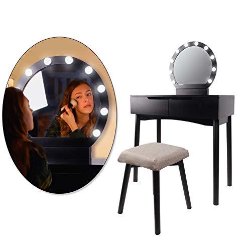 CCLIFE Tocador con Espejo, Bombillas para Maquillaje, Taburete Acolchado y 2 Cajones Grandes Deslizables, Color:DSMKT019A0000swz