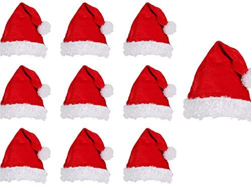 thematys Gorro de Papá Noel 10er Set - en 2 diseños Diferentes para Adultos Temporada navideña (Style 2)