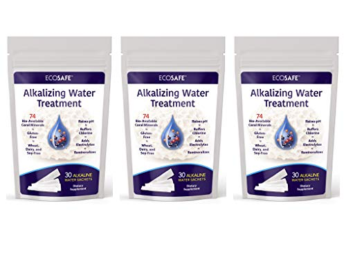 Alkaline Water Treatment - Buffers Chlorine of Drinking Water - Infused with Coral Calcium Ionic Trace Minerals and Vitamin C - 3 Pack