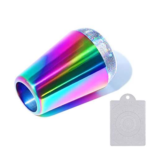 Ebanku Nagel Stempel Stamper und Schaber, Holographischer Shining Rainbow Handle Klare Silikonstempel mit Nagelschaber für Nail Art Stamping Template Transfer