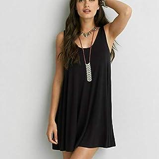 QGTDRESS 2 PCS Summer Loose Knit Strap V-Neck Leaky Back Dress, Size: S(Black) (Color : Black)