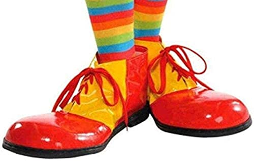 AMSCAN Red and Yellow Clown Shoes Deluxe Halloween Costume Accessories, One Size,15'H x 9 3/4'W