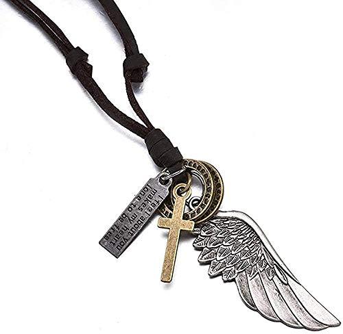 LBBYLFFF Collar de Plumas de ala de ángel y Colgante, artículos de tocador de Cuero marrón Vintage para Mujeres, Hombres, joyería, Collar de niño