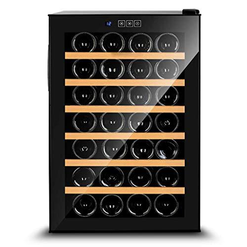 Oceanindw Nevera de vino y refrigerador para vinos, independiente, con pantalla de temperatura digital, marco de deslizamiento de roble puro y estante para vinos de acero inoxidable