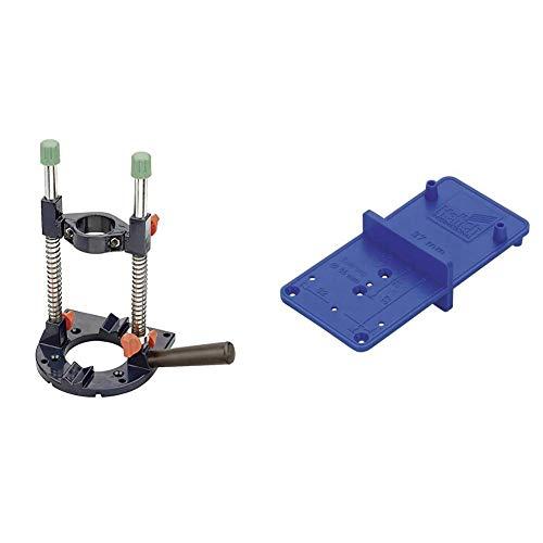 kwb Bohrmaschinen-Ständer Bohrmobil für Bohrmaschine und Akkuschrauber, Bohrständer mit 43 mm Eurospannhals & Hettich ACCURA Bohrschablone MultiBlue, 351