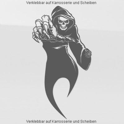 A765 Autoaufkleber Reaper Skull 60cm X 31cm Schwarz Erhältlich In 49 Farben Und 4 Größen Auto