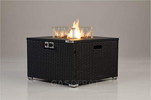 REALGLOW Compact Rattan Table Gas Fire Pit 13KW (Square)
