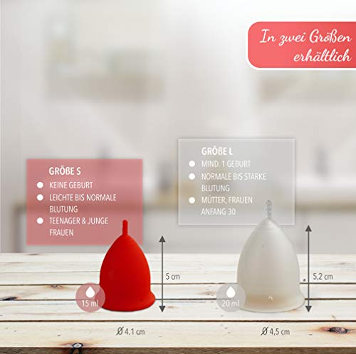 AvaLoona Menstruationstasse Doppelpack aus medizinischem Silikon mit Beutel (groß, Erdbeere, 2 Menstruationskappen) - 2