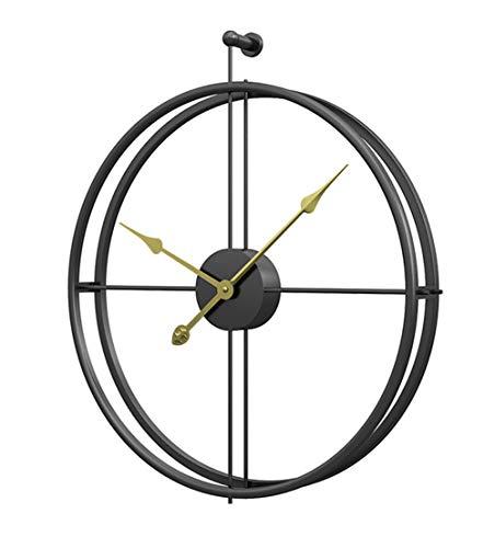 Reloj de pared de metal vintage grande, diseño moderno para decoración del hogar, oficina, relojes colgantes sala de estar clásico breve reloj de pared europeo (negro dorado)
