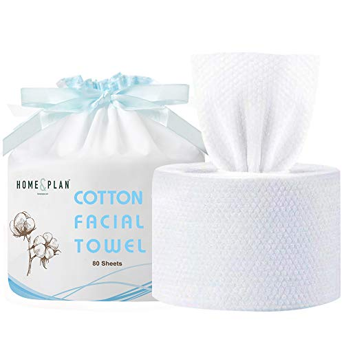 Home and Plan Extra Thick Disposable Face Towels | Dry Soft Cotton Wipes for Sensitive Adult & Baby Skin (80PCS/ROLL)