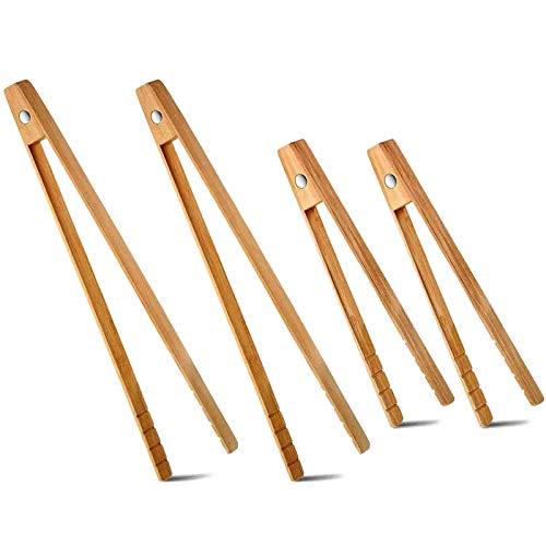 Camisin 4 TamaaOs de Pinzas para Tostar con ImáN de Bambú de Madera MagnéTica Utensilios de Cocina para Servir para Pan, Tocino, Muffin, Bagel
