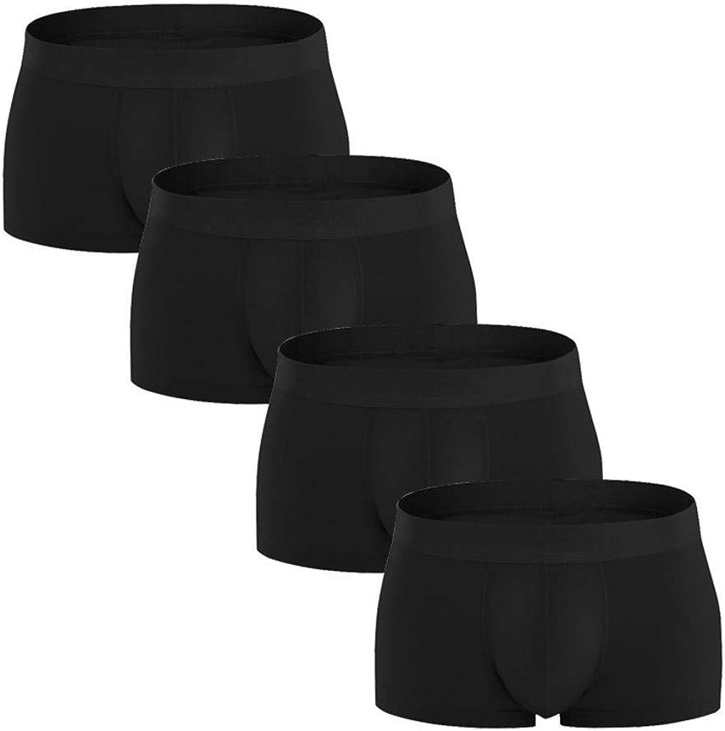 Boxer Briefs for Men 4 Pack GREFER 95% Cotton Comfortable Solid Underpants Elastic Plus Size Underwear